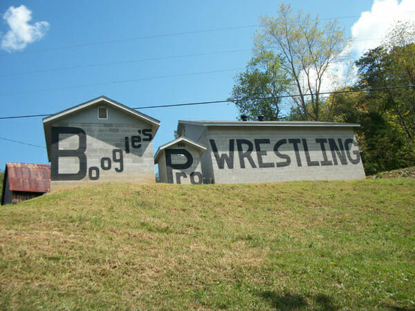 Jimmy Valiant's Boogie's Wrestling Camp located in Shawsville, Virgina.