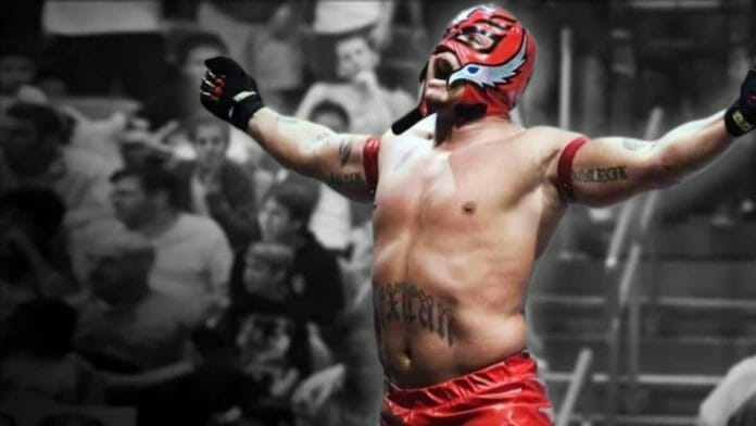 Rey Mysterio celebrates after his 2006 Royal Rumble victory after outlasting 29 other competitors.