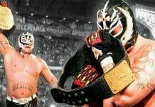 Rey Mysterio after winning the WWE World Heavyweight Championship at WrestleMania 22.