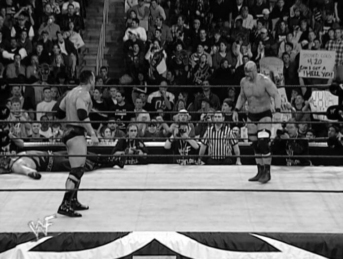 The Crowd goes bonkers as The Rock and Stone Cold Steve Austin make their way towards one another in the 2001 Royal Rumble.