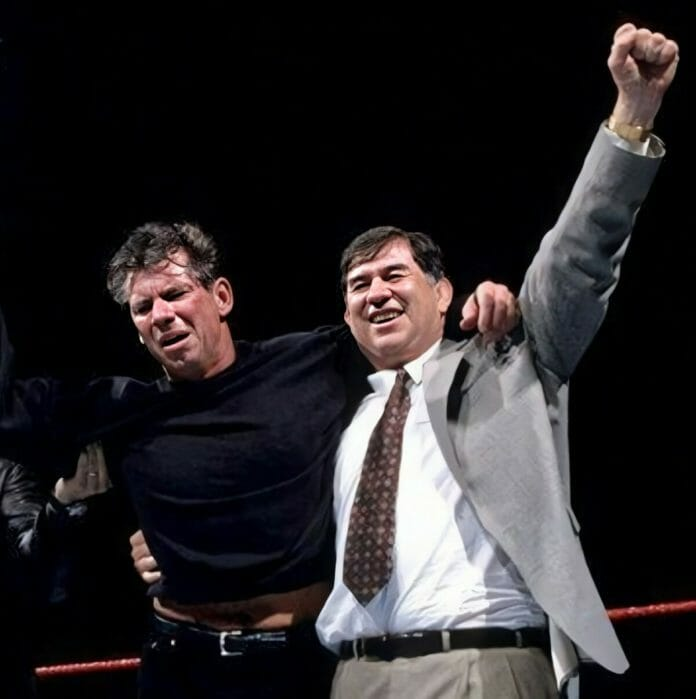 Vince McMahon with one of his stooges, Gerald Brisco, at the 1999 Royal Rumble.