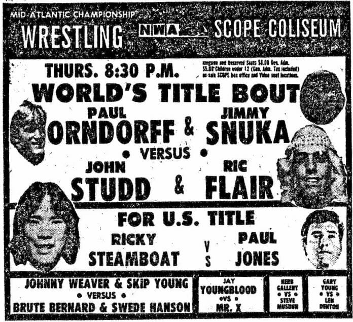 Mid-Atlantic Championship Wrestling Poster for a show at the Norfolk Scope, January 11, 1979.