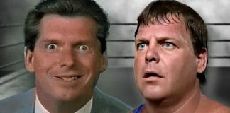 """A heel Vince McMahon on USWA television in 1993 and Jerry """"The King"""" Lawler."""